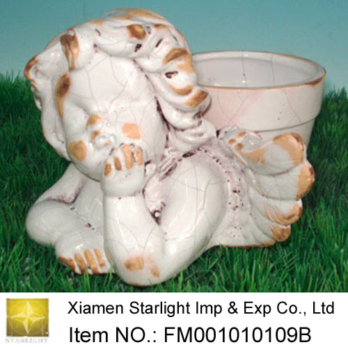 Stoneware Angel Flower Pot